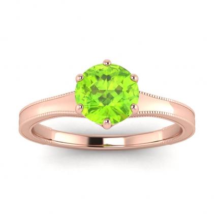 14k Rose Gold Corinne Milgrained Peridot Engagement Ring