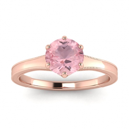 14k Rose Gold Corinne Milgrained Rose Quartz Engagement Ring