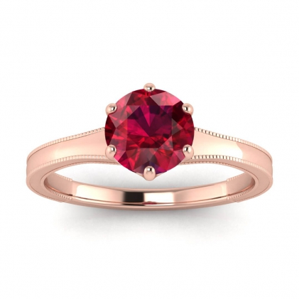 14k Rose Gold Corinne Milgrained Ruby Engagement Ring