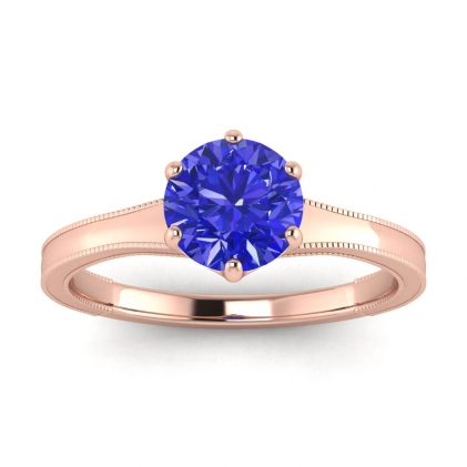 14k Rose Gold Corinne Milgrained Sapphire Engagement Ring