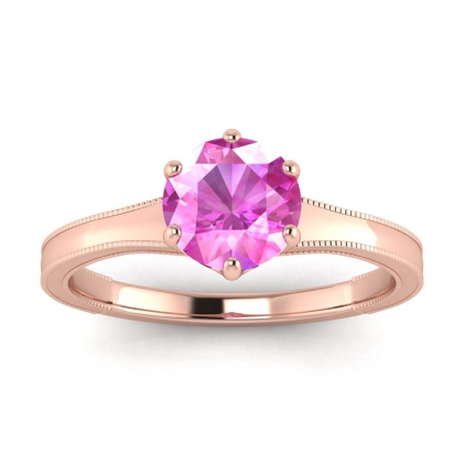 14k Rose Gold Corinne Milgrained Pink Sapphire Engagement Ring