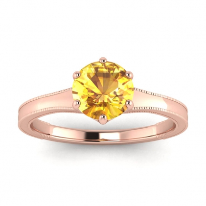 14k Rose Gold Corinne Milgrained Yellow Sapphire Engagement Ring