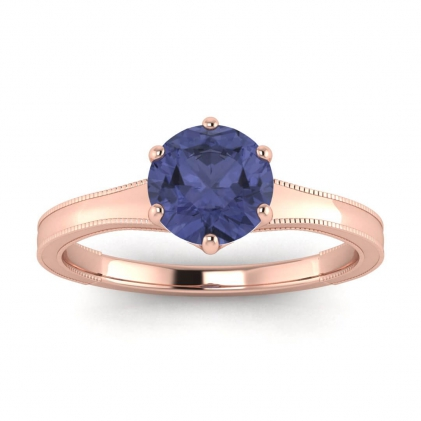 14k Rose Gold Corinne Milgrained Tanzanite Engagement Ring