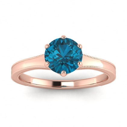 14k Rose Gold Corinne Milgrained Blue Topaz Engagement Ring