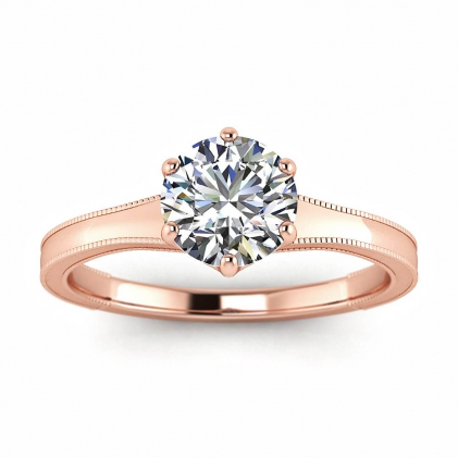 14k Rose Gold Corinne Milgrained Engagement Ring