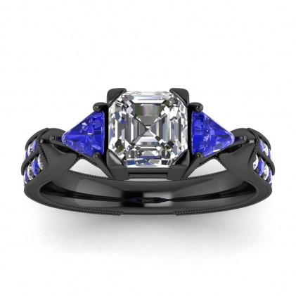 14k Black Gold Kalina Vintage Pave Asscher Cut Diamond and Sapphire Trillion Engagement Ring