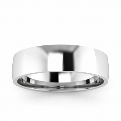 14k White Gold 5mm Wedding Band 5mm