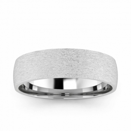 14k White Gold Brushed Classic Wedding Ring 5mm