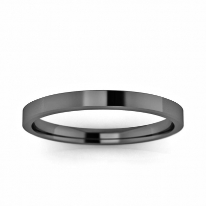 14k Black Gold Beveled Ring