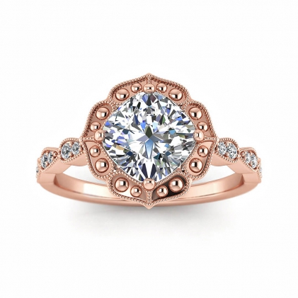 14k Rose Gold Sanne Vintage Inspired Cushion Cut Diamond Engagement Ring