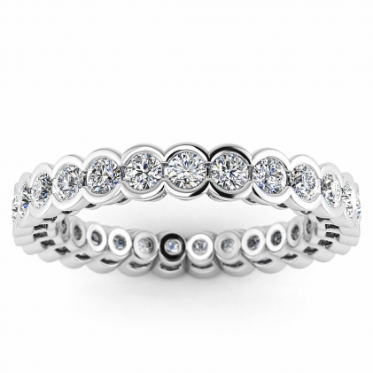 14k White Gold Allura Half Bezel Diamond Eternity Ring (1 3/5 CT. TW.)