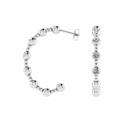 14k White Gold Beaded Hoop Diamond Earrings (1/2 CT. TW.)