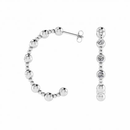 14k White Gold Beaded Hoop Diamond Earrings (1/2 CT. TW.)
