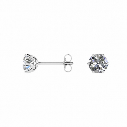 14k White Gold Basket Setting Stud Earrings