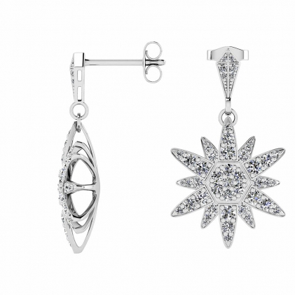 14k White Gold Dangling Diamond Star Earrings (3/4 CT. TW.)
