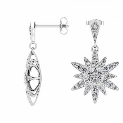 14k White Gold Dangling Diamond Star Earrings (3/4 CT. TW.)