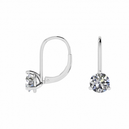 14k White Gold Dangling Huggie Earrings