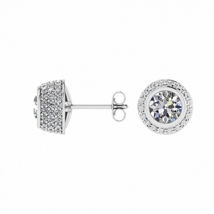 14k White Gold Evadne Micro Pave Bezel Diamond Earrings (1/2 CT. TW.)