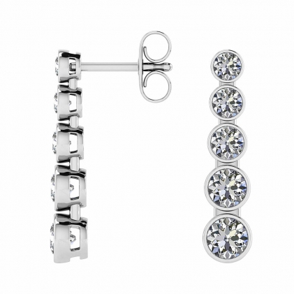 14k White Gold Asa 5 Stone Diamond Drop Earrings (2 1/2 CT. TW.)