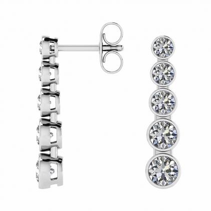 14k White Gold Asa 5 Stone Diamond Drop Earrings (2 1/2 CT. TW.)