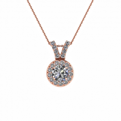 14k Rose Gold Via Paved Diamond Halo Pendant (1/4 CT. TW.)