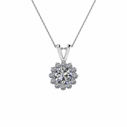 14k White Gold Malou Prongs Sunflowr Diamond Pendant (1/4 CT. TW.)