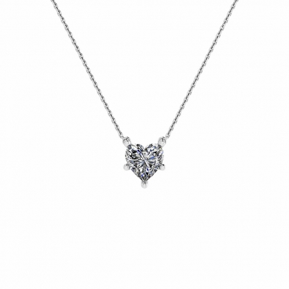 14k White Gold Heart Shaped Diamond Solitaire Pendant