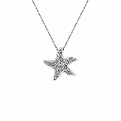 14k White Gold Delicate Diamond Starfish Pendant (1/10 CT. TW.)