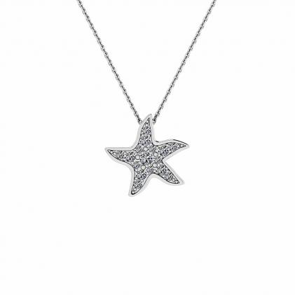 14k White Gold Delicate Diamond Starfish Pendant (1/10 CT. TW.)