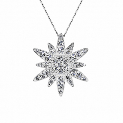 14k White Gold Flavia Micro Pave Diamond Star Pendant (3/5 CT. TW.)