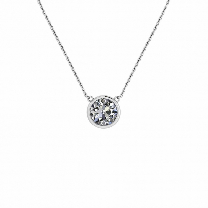 14k White Gold Bezel Set Pendant