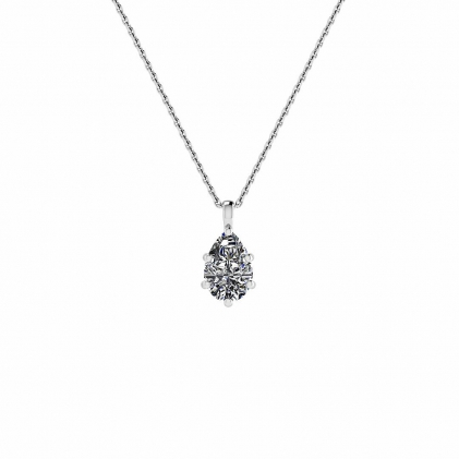 14k White Gold Dangling Pear Shaped Diamond Solitaire Pendant