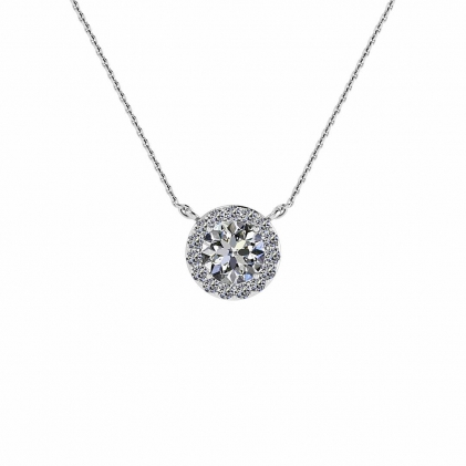 14k White Gold Fixed Halo Diamond Pendant (1/10 CT. TW.)