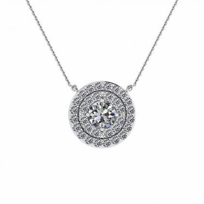 14k White Gold Grand Reva Double Halo Diamond Pendant (4/9 CT. TW.)