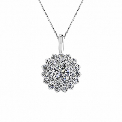14k White Gold Gioia Vintage Flower Cluster Diamond Pendant (4/9 CT. TW.)