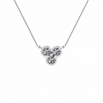 14k White Gold Ani Petite Three Diamond Necklace (1/2 CT. TW.)