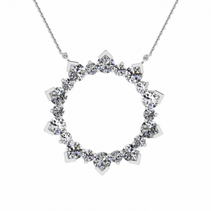 14k White Gold Allegro Delicate Pave Diamond Circle Pendant (1 1/2 CT. TW.)