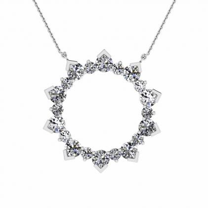 14k White Gold Allegro Delicate Pave Diamond Circle Pendant (1 1/2 CT. TW.)