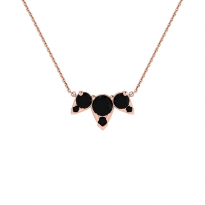 14k Rose Gold Multiple Black Diamond Pendant