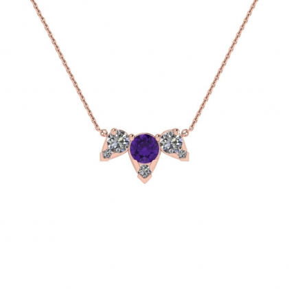 14k Rose Gold Multiple Amethyst and Diamond Pendant (3/7 CT. TW.)