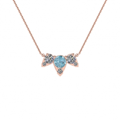14k Rose Gold Multiple Aquamarine and Diamond Pendant (3/7 CT. TW.)