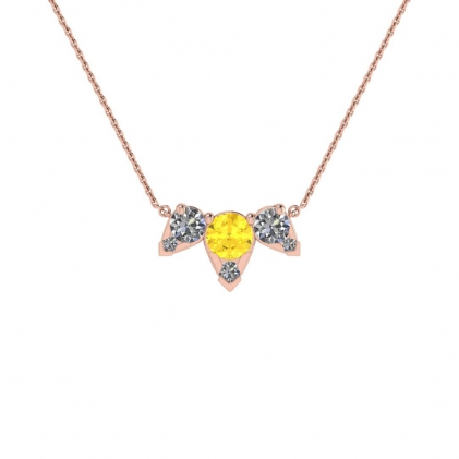 14k Rose Gold Multiple Citrine and Diamond Pendant (3/7 CT. TW.)