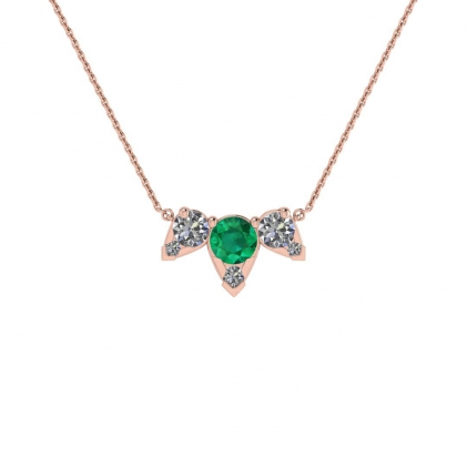 14k Rose Gold Multiple Emerald and Diamond Pendant (3/7 CT. TW.)