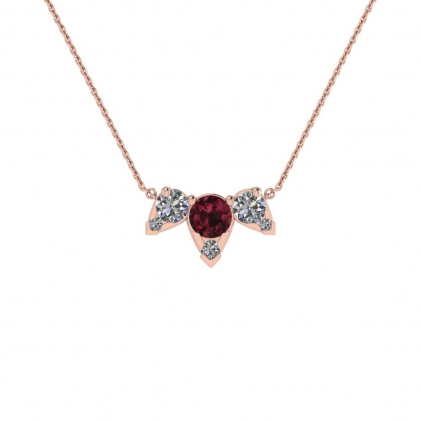 14k Rose Gold Multiple Garnet and Diamond Pendant (3/7 CT. TW.)