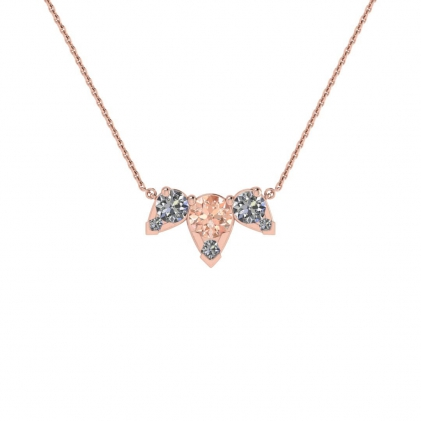14k Rose Gold Multiple Morganite and Diamond Pendant (3/7 CT. TW.)
