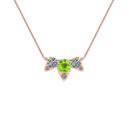 14k Rose Gold Multiple Peridot and Diamond Pendant (3/7 CT. TW.)