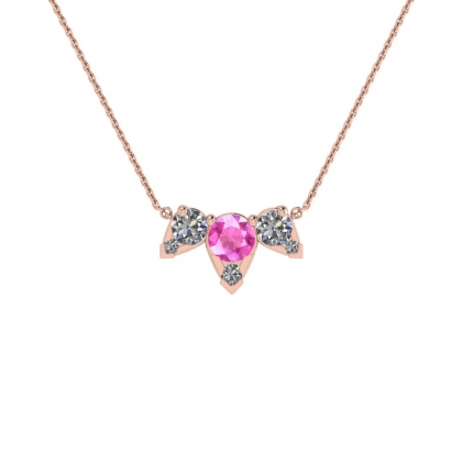 14k Rose Gold Multiple Pink Sapphire and Diamond Pendant (3/7 CT. TW.)