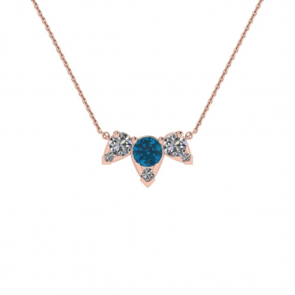 14k Rose Gold Multiple Blue Topaz and Diamond Pendant (3/7 CT. TW.)