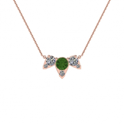 14k Rose Gold Multiple Green Tourmaline and Diamond Pendant (3/7 CT. TW.)