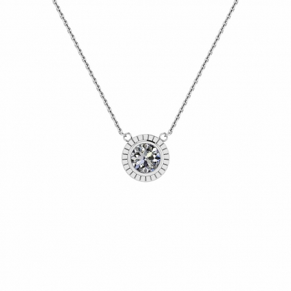 14k White Gold Fan Vintage Bezel Necklace